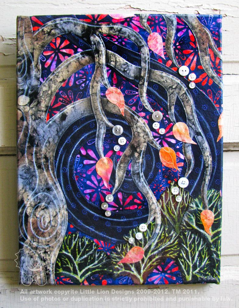 The Weeping - Fabric Collage Wall Art - Ready to Hang ...