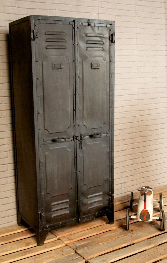 industrial 2door black metal locker