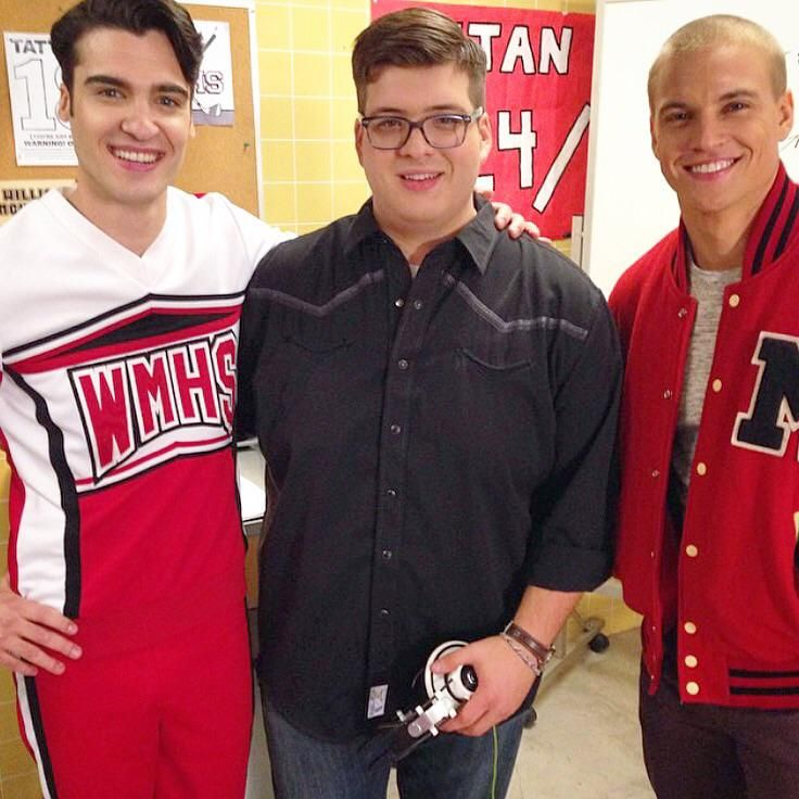 """Lewis (left) with Marshall and new """"Glee"""" cast member Noah Guthrie"""