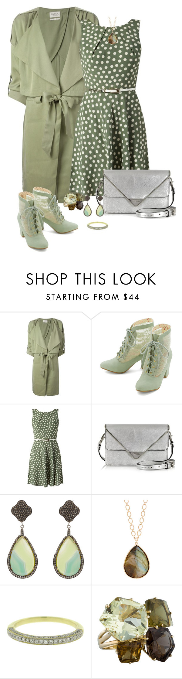 """""""green"""" by mariacaniuca ❤ liked on Polyvore featuring Parka London, But Another Innocent Tale, Apricot, Rebecca Minkoff, Carole Shashona, Irene Neuwirth and Allurez"""