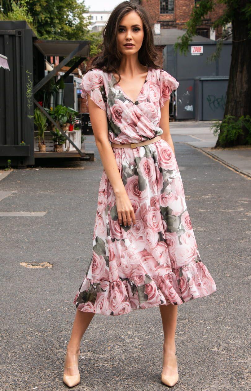 Elegancka Sukienka Midi W Kwiaty 250 D34 High Low Dress Fashion Dresses