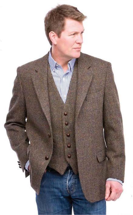 brown herringbone harris tweed jacket and matching waistcoat