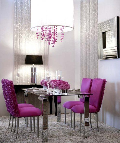 Radiant Orchid Purple Accents In A Modern Dining Room