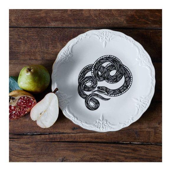 Lot de 6 assiettes plates motif hirondelles patch nyc pour monoprix maison - Monoprix maison blanche ...