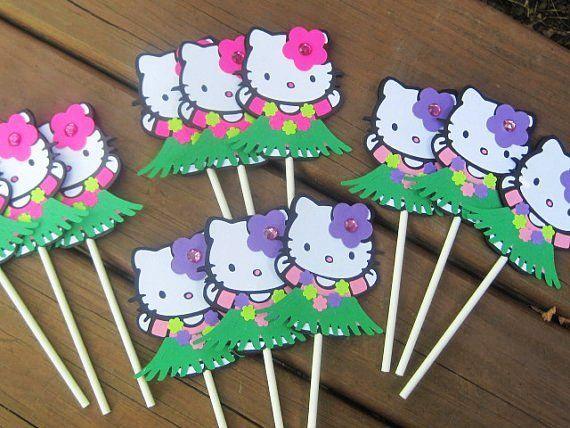 Hula Hello Kitty Luau Hello Kitty Cupcake Toppers Hello Kitty