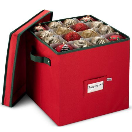 Zober Christmas Ornament Storage Box with Lid 12 x 12 x 12