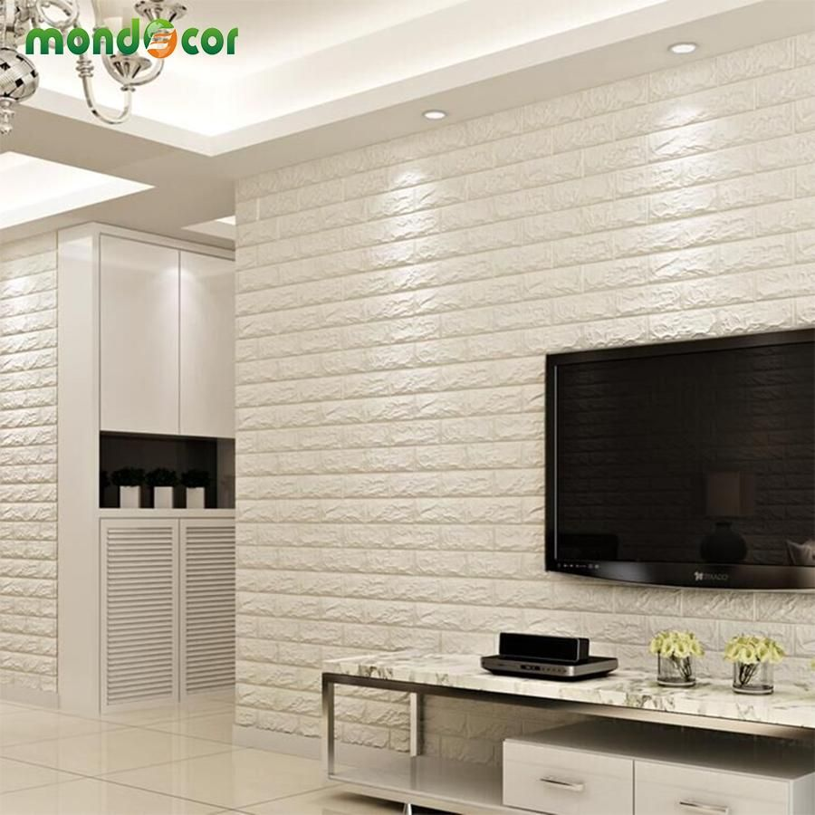 8pcs diy brick wall panel self adhesive 3d wall sticker on wall stickers for living room id=29132