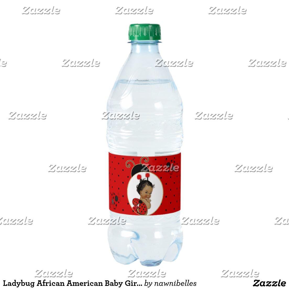 Ladybug African American Baby Girl Red & Black Water Bottle Label ...