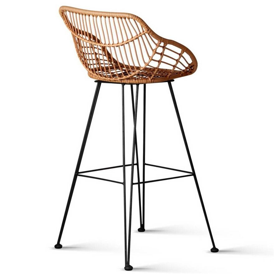 Buy Artiss Set Of 2 Pe Wicker Bar Stools Natural In 2020 Wicker Bar Stools Bar Stools Rattan Stool