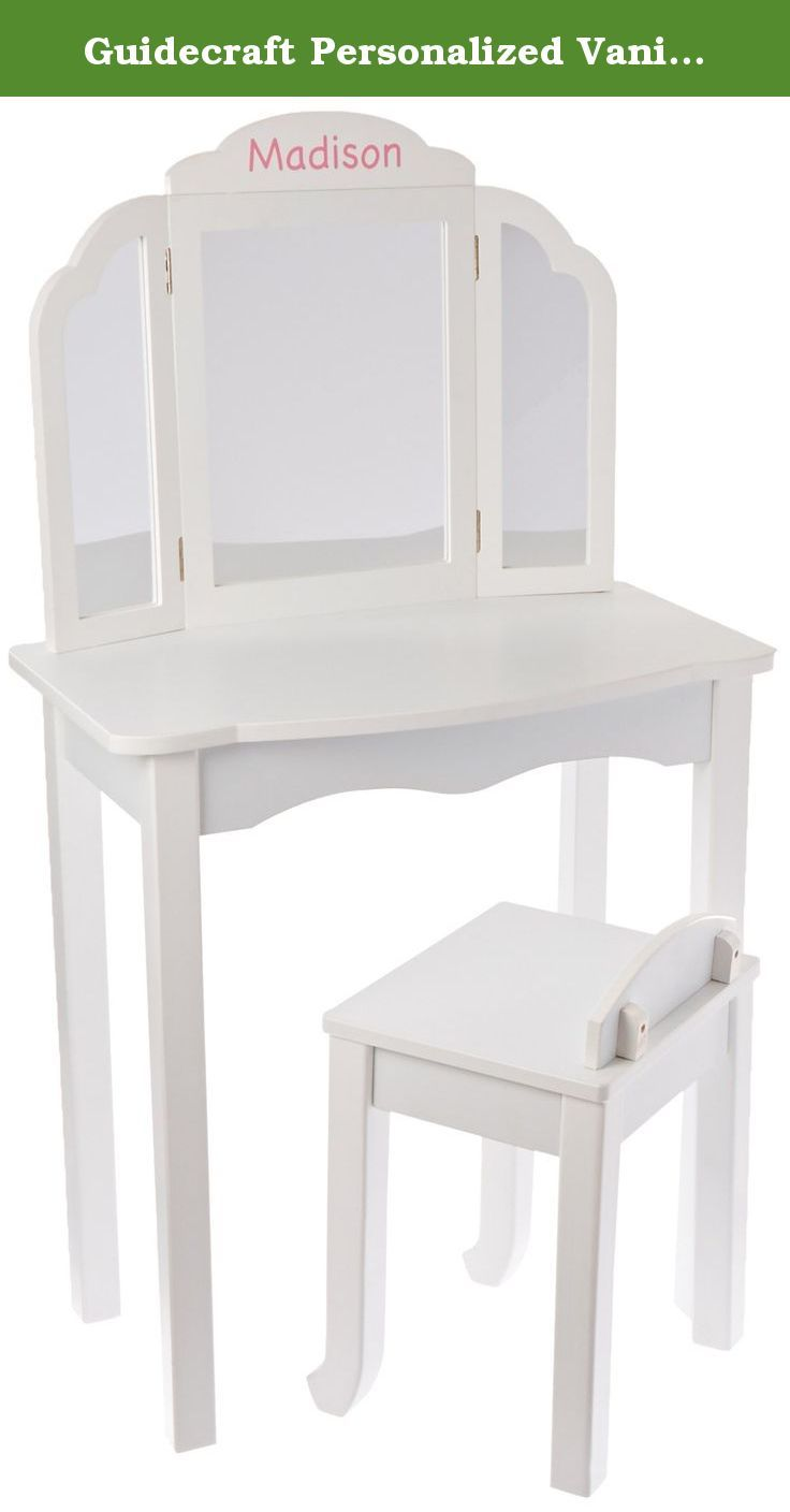 Guidecraft Personalized Vanity Table And Stool Set Color White