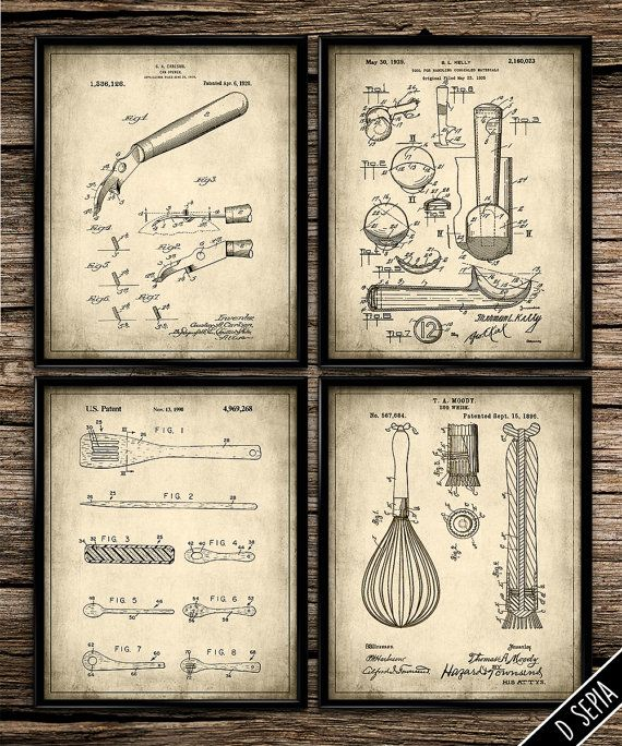 vintage kitchen utensil set vintage prints patent print kitchen decor home decor on kitchen decor paintings prints id=14724