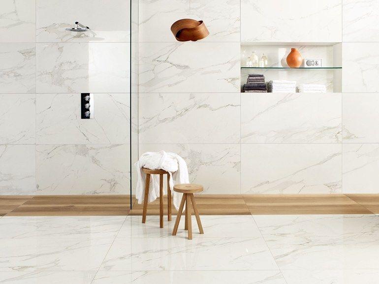 Porcelain Stoneware Wall Floor Tiles With Marble Effect Anima Calacatta Oro Anima Collection By Cerami Pavimentare A Piastrelle Bagno Con Piastrelle Piastrelle