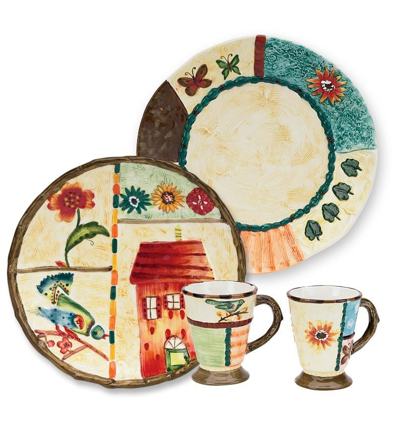 Hand-Painted Ceramic Warmth of Home Dinnerware Sets - Plow \u0026 Hearth  sc 1 st  Pinterest & Hand-Painted Ceramic Warmth of Home Dinnerware Sets - Plow \u0026 Hearth ...