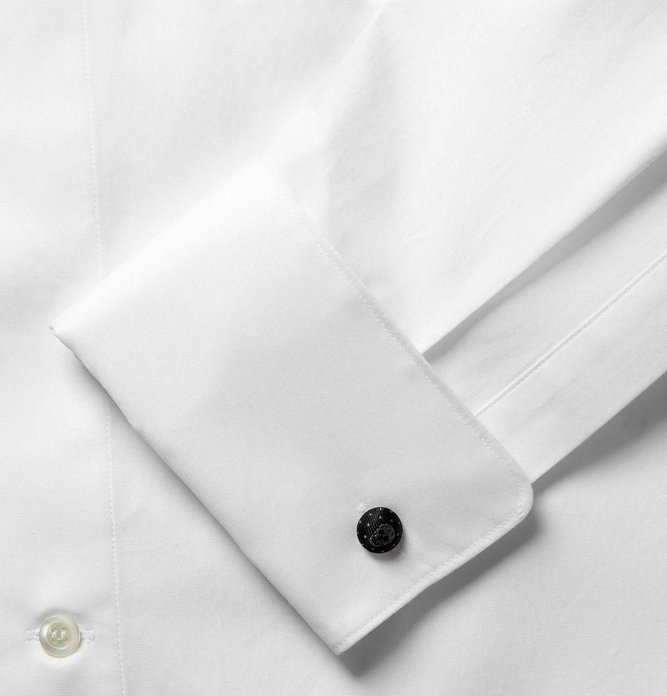 Alexander McQueen- White Skull Cufflinks Cotton-Poplin Shirt