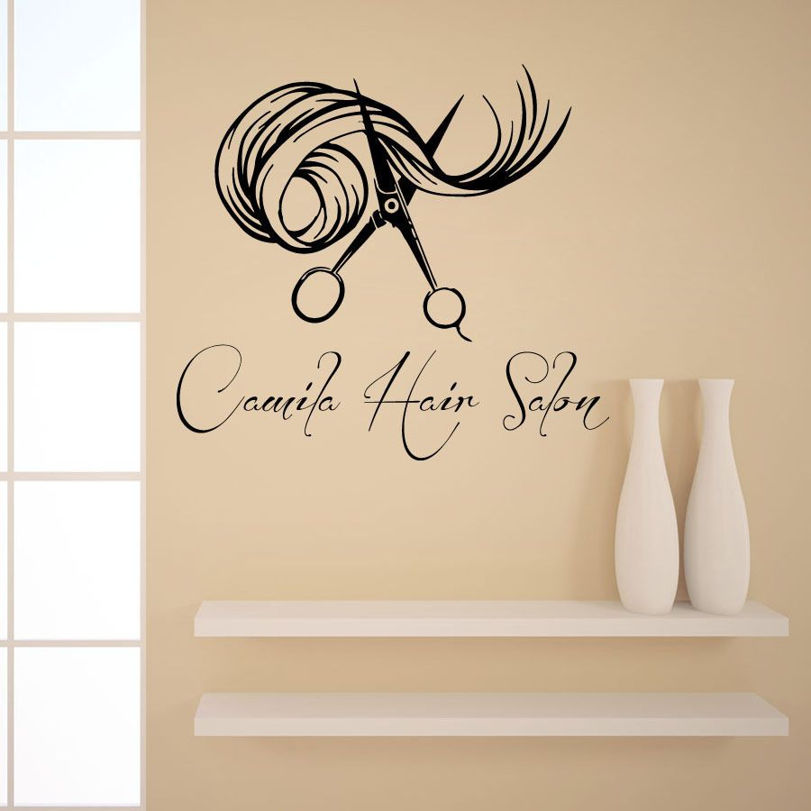Wall Decals Custom Logo Hair Beauty Salon Vinyl Sticker Girl Name - Custom vinyl wall decals logo
