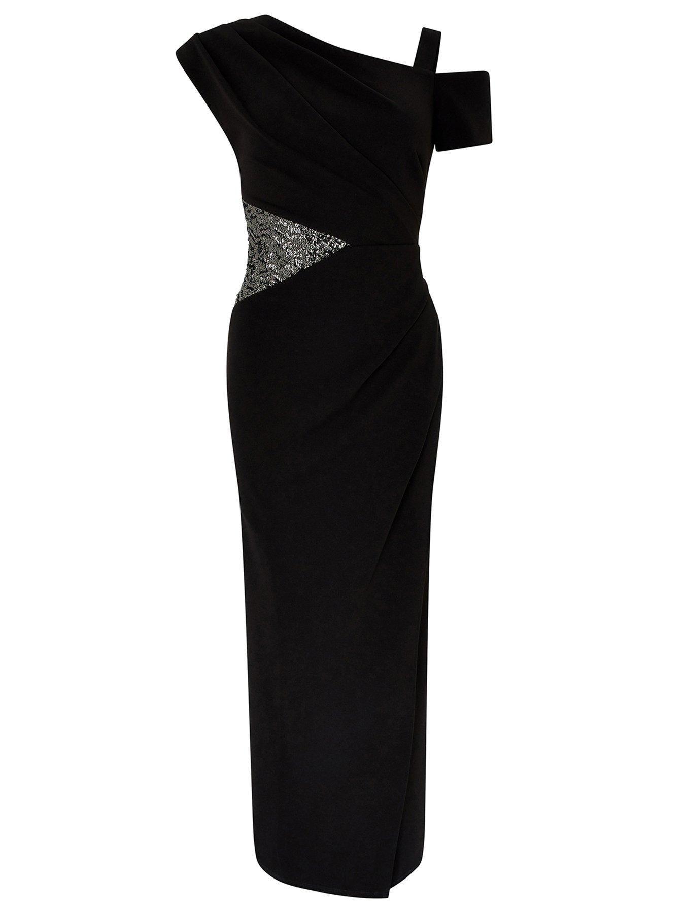 Monsoon Monsoon Octavia Sequin Insert Maxi Dress, Black, Size 20, Women - Black - 20 #blackmaxidress