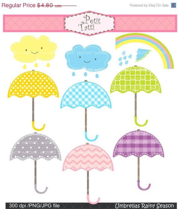 On Umbrellas Clip Art Digital For All Use Umbrella Rainy Season Instant