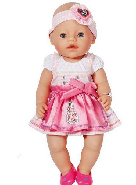 Doll Accessories Pink Dress Doll Clothes Wear Fit 43cm