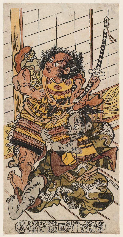 Kobayashi no Asaina pulls the armor of Soga Goro Tokimune, ca. 1726 by Nishimura Shigenaga
