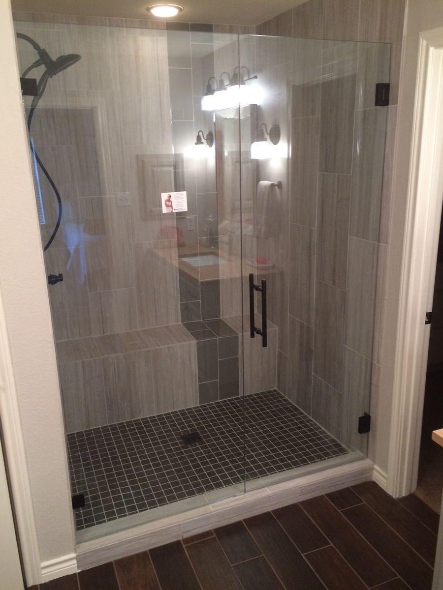 Frameless With Door Panel Ladder Pull Handle Oil Rubbed Bronze Hardware Finish Bathroom Design Decor Bathroom Remodel Master Master Bath Renovation