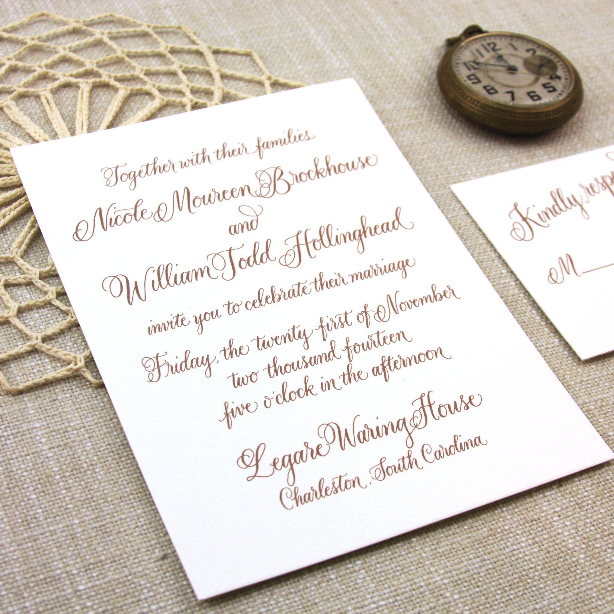 Calligraphy Wedding Invitation Wedding invitations
