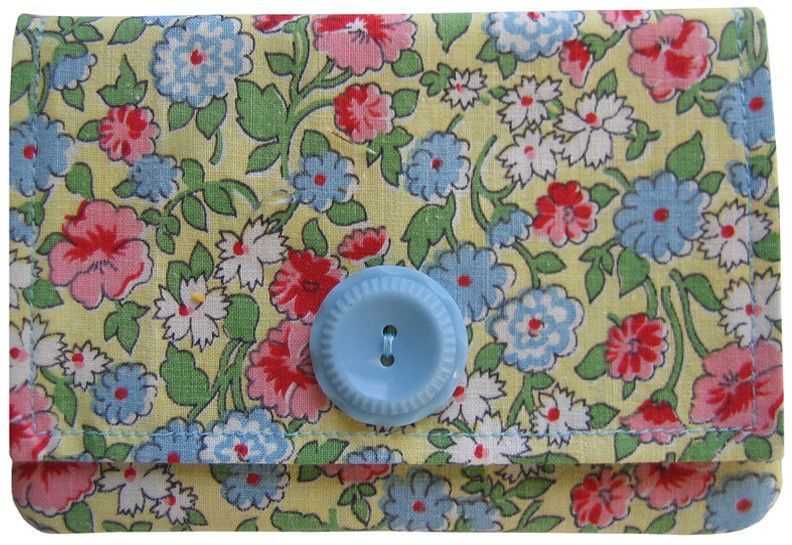 Mini Wallet - Light Blue/Yellow Floral