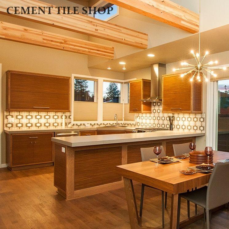 Mid Century Modern Kitchen · Encaustic Retro Design Backsplash Tiles In  Natural Modern Kitchen. Leader Builders   Bend, Oregon