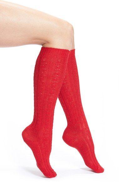 991e40fc3 Wigwam Cable Knit Knee Socks Red Knee High Socks