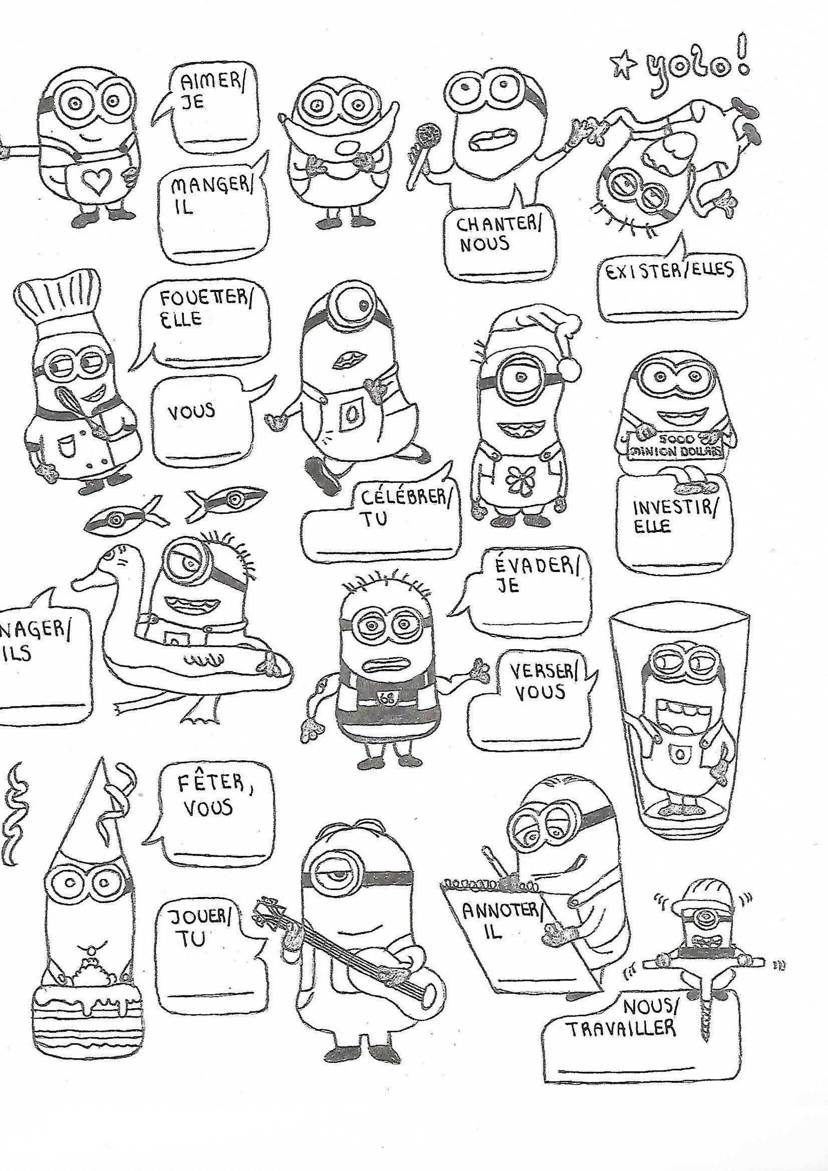 French Regular Er Re Ir Verb Conjugation Worksheet Minions No Prep Practice Kindergarten Worksheets Printable Spanish Verbs Verb Conjugation [ 2338 x 1653 Pixel ]
