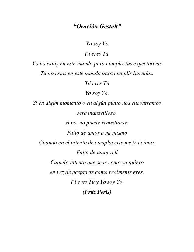 La oración gestalt de Fritz Perls
