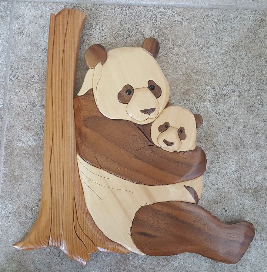 Details about Intarsia Wood Art Handcrafted - MOMMA AND BABY PANDA BEAR #babypandabears This stunning piece makes a wonderful focal point in any room. This beautiful MOMMA AND BABY PANDA BEAR is outstanding. Each piece of natural exotic hardwood has been individually coated with two coats of Varathane Diamond Wood Finish. | eBay! #babypandas