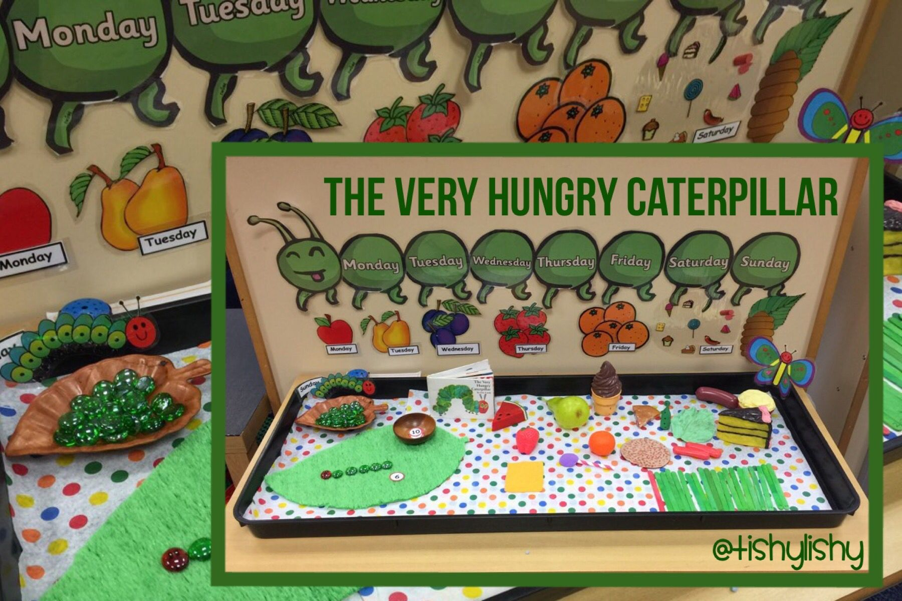 The Very Hungry Caterpillar Sensory Tray Set Up With