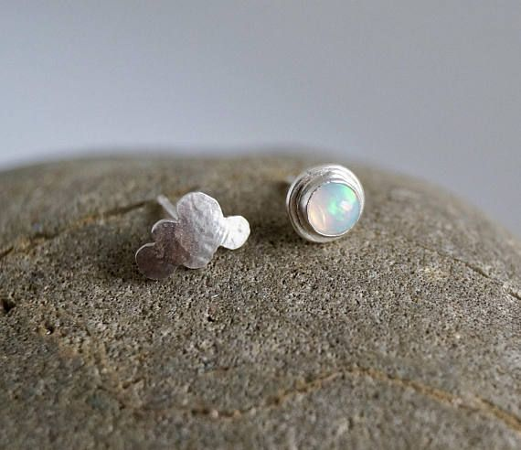 Wandering Cloud  Mismatched Silver Stud Earrings with Opal