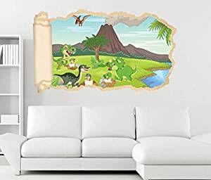 3d Wandtattoo Kinderzimmer Dino Vulkan Kinderzimmer Dinosaurier