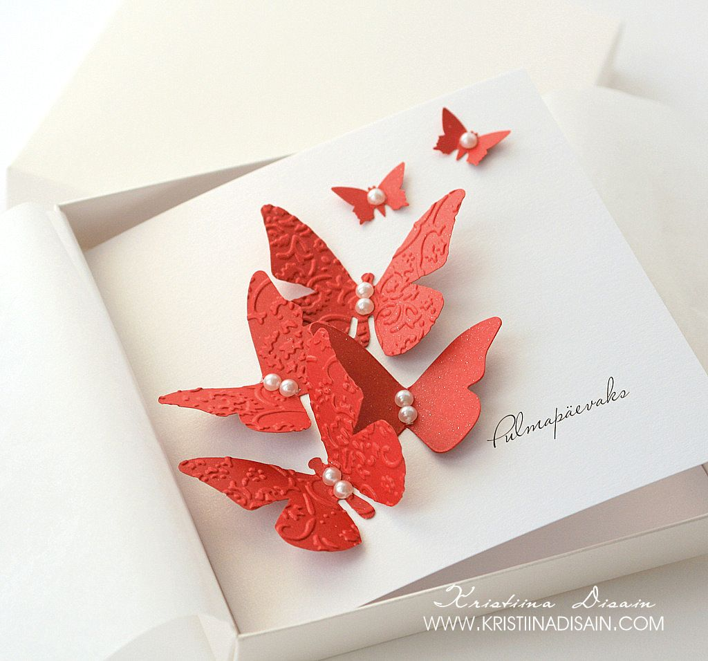wedding day greeting card with red butterflies and pearls | wedding ...