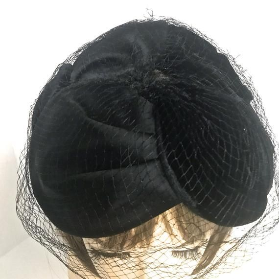 Vintage Black Fascinator Hat With Veil Mid Century Black Chiffon And Velvet Fascinator Hat With Black Veil Black Medium Fascinator Hat