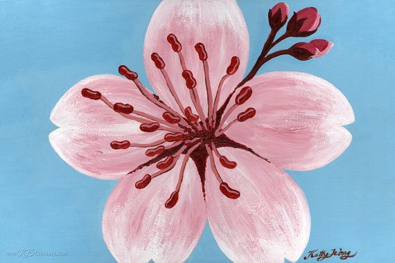 Ruby Red Cherry Blossom Poster Print Free U S Shipping Pink And Blue Cherry Blossom Acrylic Poster Cherry Blossom Painting Blossoms Art Cherry Blossom Art Coolest red cherry blossom wallpaper
