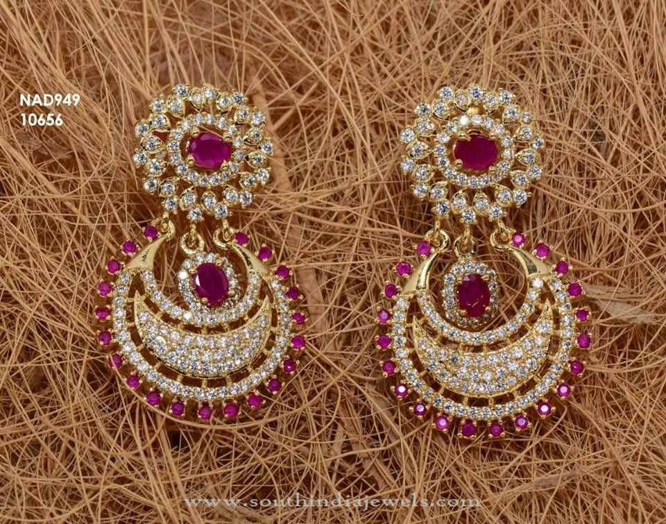 One Gram Gold Designer Earrings Stone White