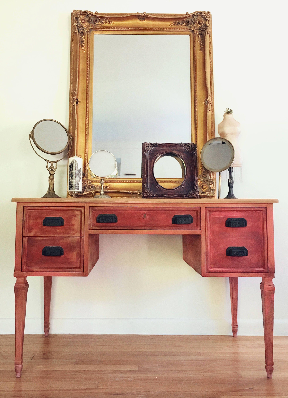 Vintage vanity desk by kindel finished on all sides hand painted