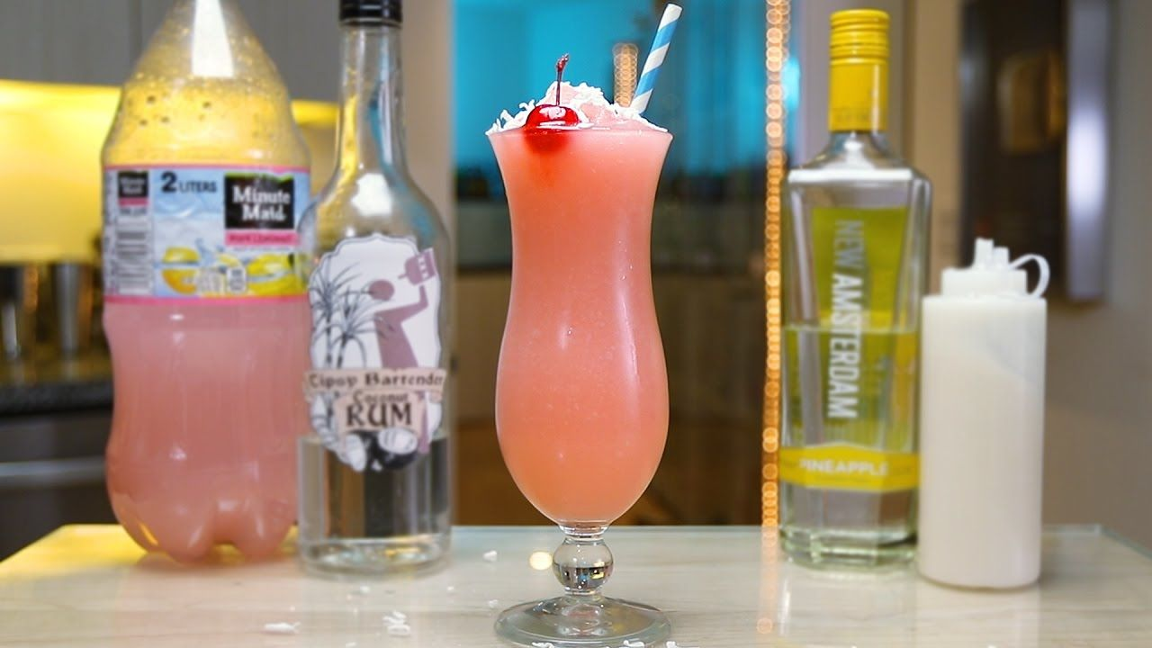 Pink Snowball Recipe Coconut Rum Pineapple Vodka Tipsy Bartender