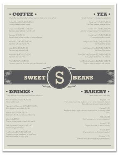 Sweet Beans Menu Coffee Shop Menu Coffee Shop Coffee Menu