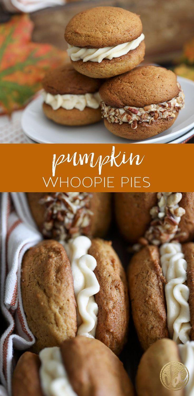 Pumpkin Whoopie Pies with Salted Caramel Cream Cheese Frosting - These Pumpkin Whoopie Pies with S