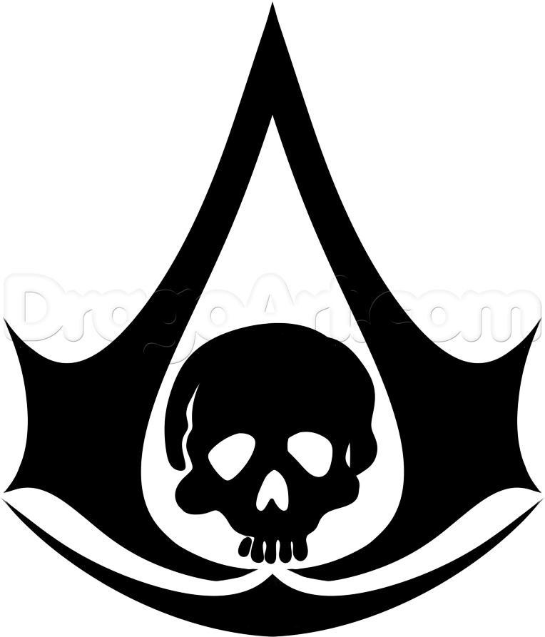 How To Draw The Assassins Creed Black Flag Logo Step 7 Assassins Creed Black Flag Black Flag Logo Black Flag