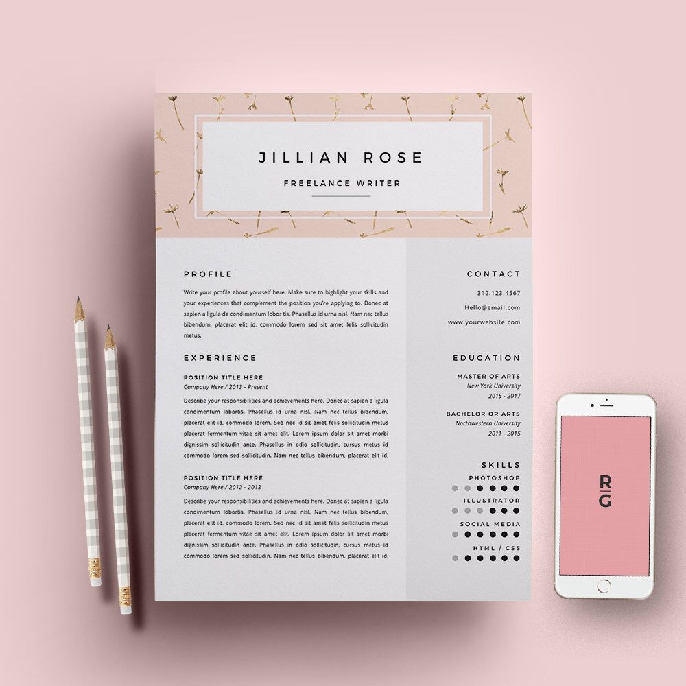 Resume Template  Page Pack  Cv Template  Cover Letter For Ms Word