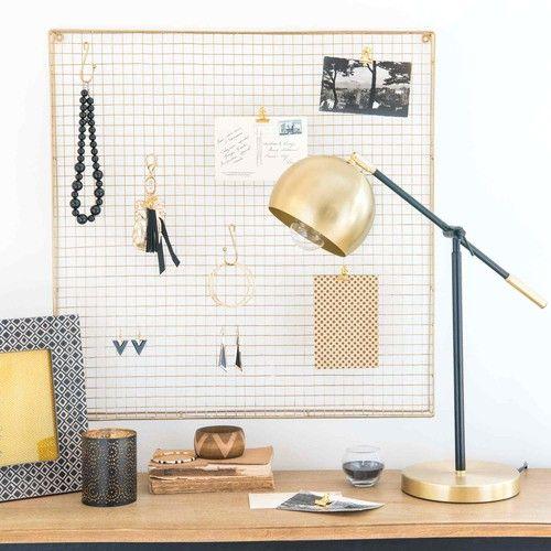 Lampada da tavolo in metallo nero e dorato ARKATA