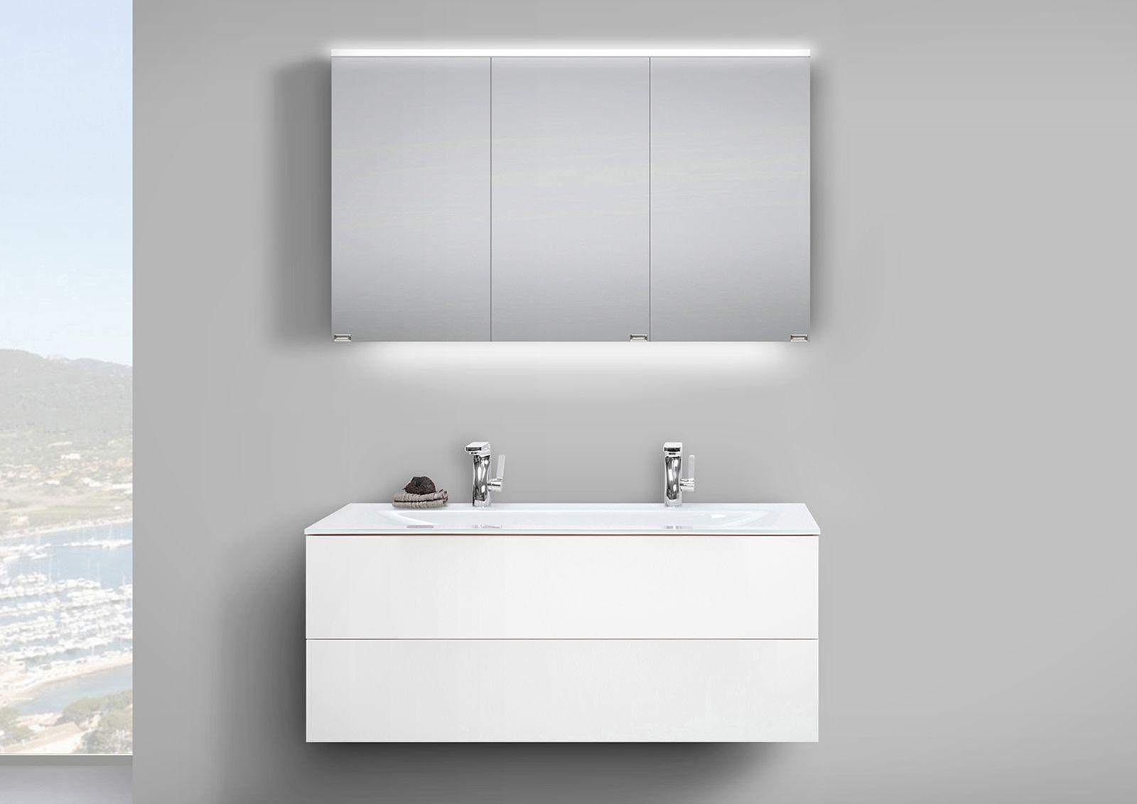 badm bel set grifflos 120 cm glas doppelwaschtisch mit unterschrank und led spiegelschrank in. Black Bedroom Furniture Sets. Home Design Ideas