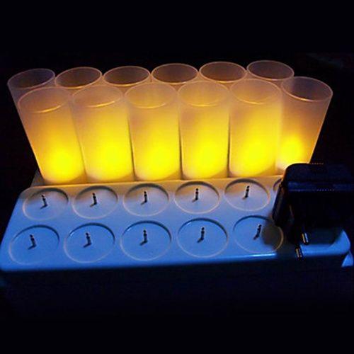 Warm Yellow LED Rechargeable Flameless Tea Light Candles - 12 pc – LightSuperDeal.com