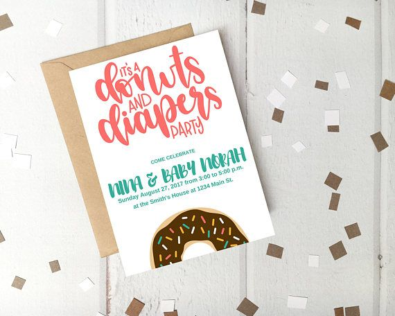 Donuts And Diapers Sprinkle Baby Shower Invitation Template Create