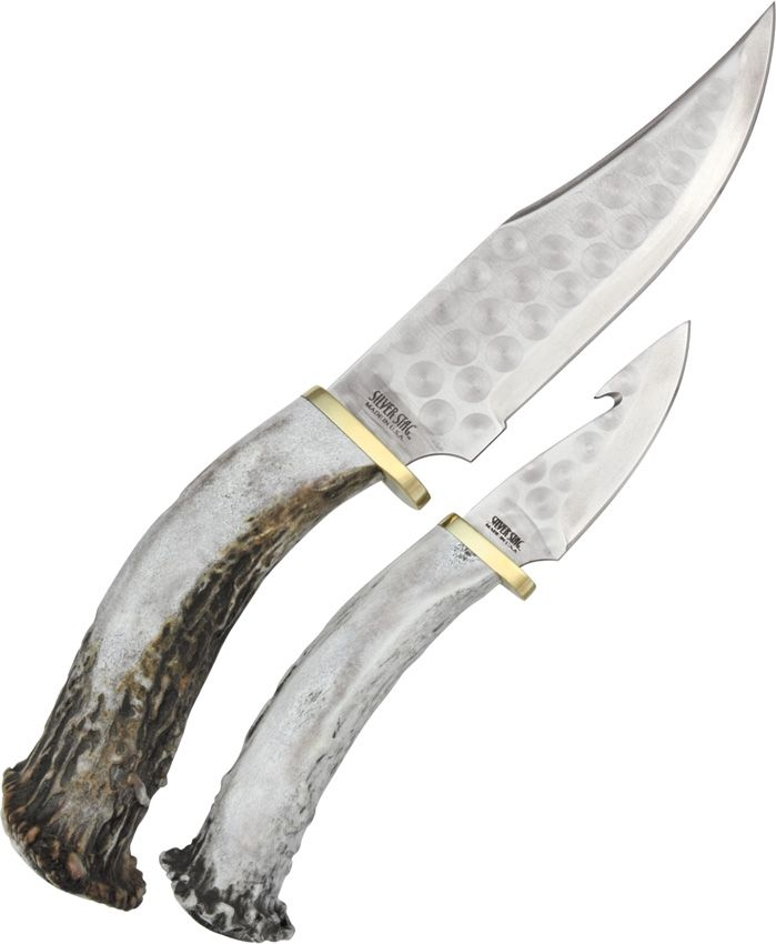 Silver Stag: Hunter Combo. Each knife features a 1095 high carbon steel blade and North American deer or elk antler crown handle with brass finger guard.
