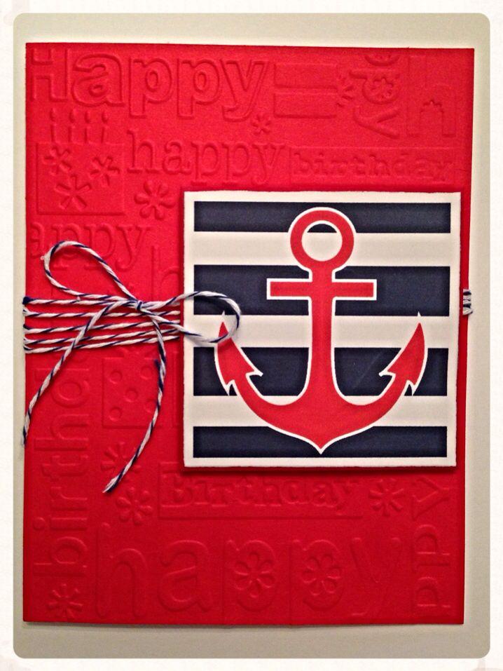 Nautical Happy birthday card Handmade card by XioCreations